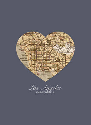 I Heart Los Angeles California Vintage City Street Map Americana Series No 018 Art Print