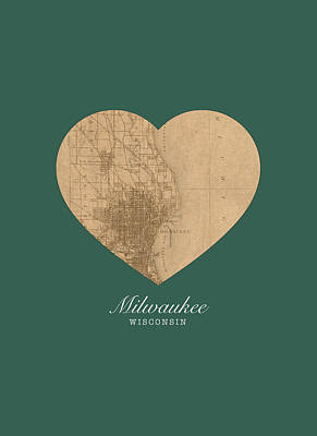 I Heart Milwaukee Wisconsin Vintage City Street Map Americana Series No 003 Art Print