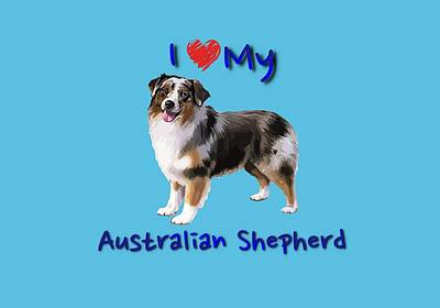 Digital Art - I Heart My Australian Shepherd by Becky Herrera