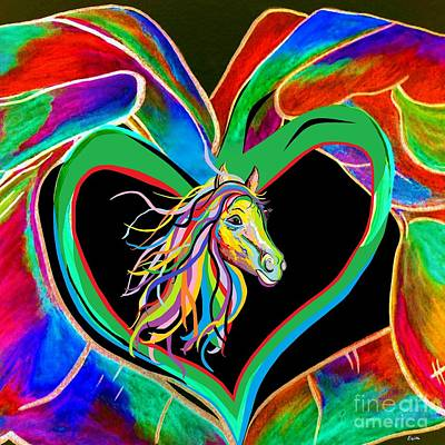 Bright Colors Painting - I Heart My Horse by Eloise Schneider