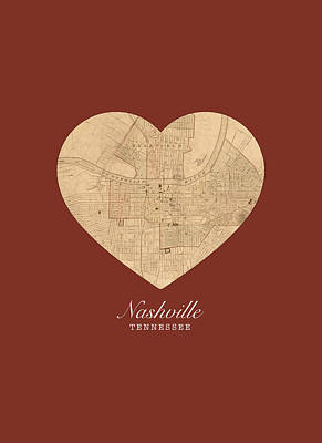 I Heart Nashville Tennessee Vintage City Street Map Americana Series No 010 Art Print