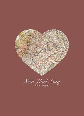 Times Square Mixed Media - I Heart Nyc New York City Vintage City Street Map Love Americana Series No 044 by Design Turnpike