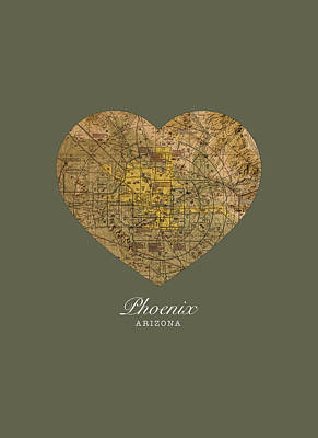 Phoenix Mixed Media - I Heart Phoenix Arizona Vintage City Street Map Americana Series No 026 by Design Turnpike