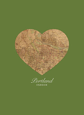 I Heart Portland Oregon Vintage City Street Map Americana Series No 016 Art Print