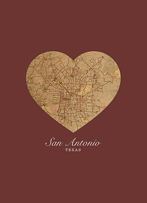 I Heart San Antonio Texas Vintage City Street Map Love Americana Series No 029 Art Print