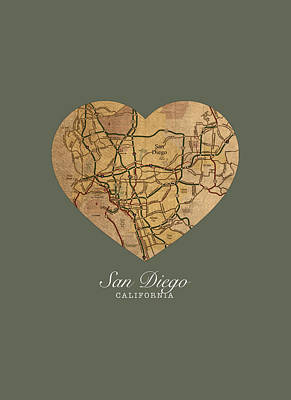 San Diego Mixed Media - I Heart San Diego California Vintage City Street Map Americana Series No 022 by Design Turnpike