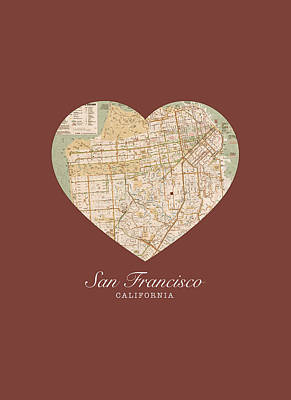 I Heart San Francisco California Vintage City Street Map Americana Series No 017 Art Print