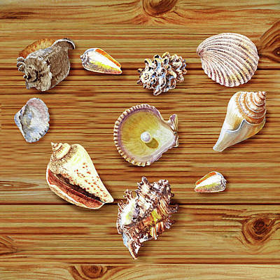 Painting - I Heart Seashells by Irina Sztukowski