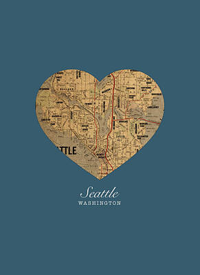 I Heart Seattle Washington Vintage City Street Map Americana Series No 015 Art Print