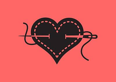 Digital Art - I Heart Sewing by Nancy Lorene