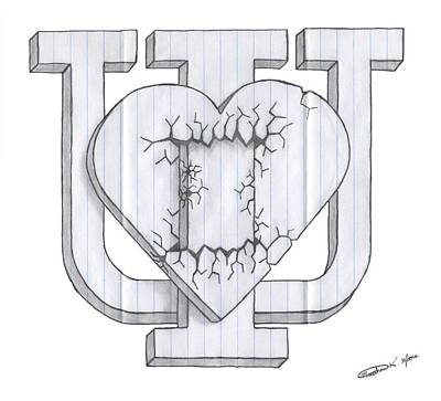 Tattoo Art Mixed Media - I Heart U by Matthew Moore