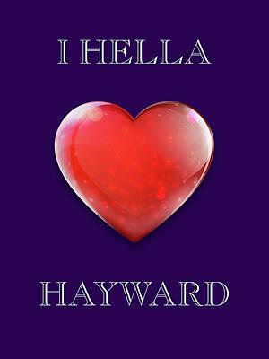 Abstract Animalia - I Hella Love Hayward Ruby Red Heart on Deep Purple by Kathy Anselmo