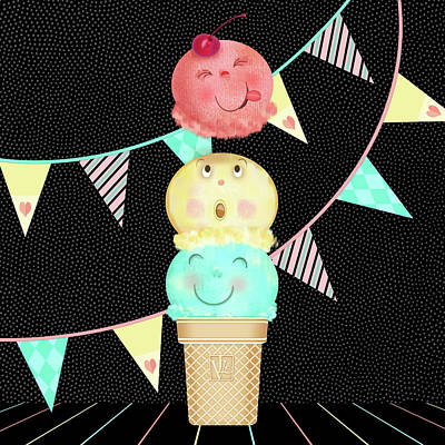 Children Ice Cream Digital Art - I Is For Ice Cream Cone by Valerie Drake Lesiak