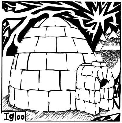 Learn To A Maze Drawing - I Is For Igloo Maze by Yonatan Frimer Maze Artist