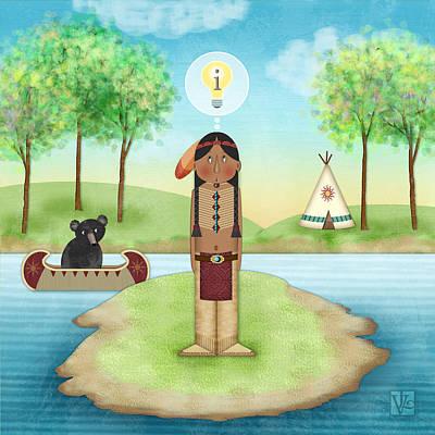 Canoe Digital Art - I Is For Indian by Valerie Drake Lesiak
