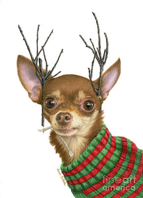 Chihuahua Portraits Painting - I Is Ready Fer Christmas by Sarah Batalka