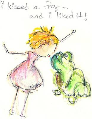 Little Girls98 Drawing - I Kissed A Frog by Ricky Sencion