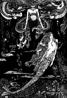 Extinct And Mythical Drawing - I Know What You Want Said The Sea Witch, Illustration For The Little Mermaid  by Harry Clarke
