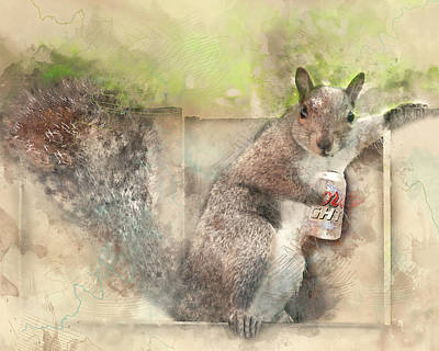 I Like My Beer Light - Squirrel With Beer Digital Watercolor Art Print by Rayanda Arts