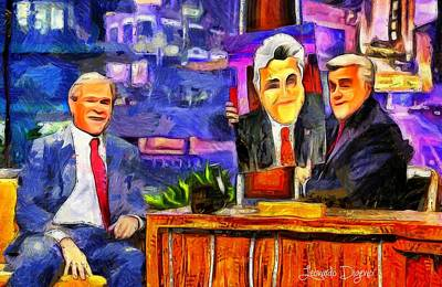 George Bush Digital Art - I Like To Paint Dogs Too - Da by Leonardo Digenio