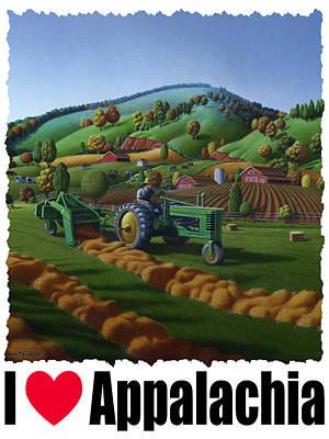Hayfield Painting - I Love Appalachia - Baling Hay Field Appalachian Landscape by Walt Curlee