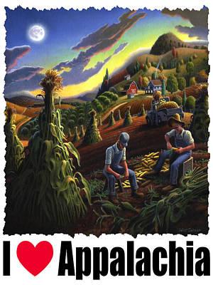 Corn Painting - I Love Appalachia - Farmers Shucking Corn Til Sunset - Rural Farm Landscape by Walt Curlee