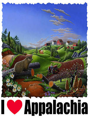 Groundhog Painting - I Love Appalachia - Spring Groundhog by Walt Curlee