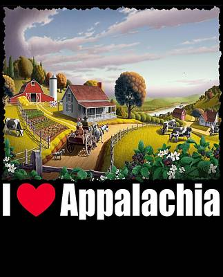 Redlin Painting - I Love Appalachia T Shirt - Appalachian Blackberry Patch by Walt Curlee