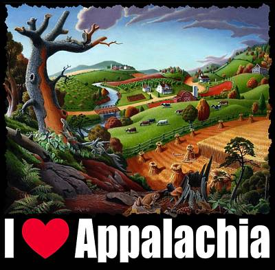 Redlin Painting - I Love Appalachia T Shirt - Autumn Rural Wheat Harvest Farm Landscape by Walt Curlee