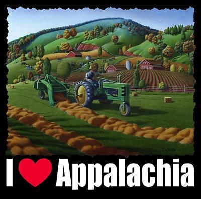 Hayfield Painting - I Love Appalachia T Shirt - Baling The Hay Field Appalachian Landscape 2 by Walt Curlee