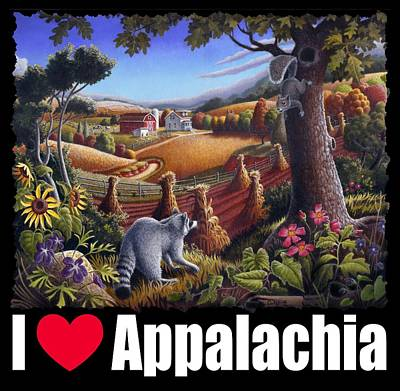 Redlin Painting - I Love Appalachia T Shirt - Coon Gap Holler 2 - Country Farm Landscape by Walt Curlee