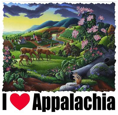 Redlin Painting - I Love Appalachia T Shirt - Deer Chipmunk High Meadow Appalachian Landscape by Walt Curlee