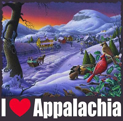 Redlin Painting - I Love Appalachia T Shirt - Small Town Winter Landscape 2 - Cardinals by Walt Curlee