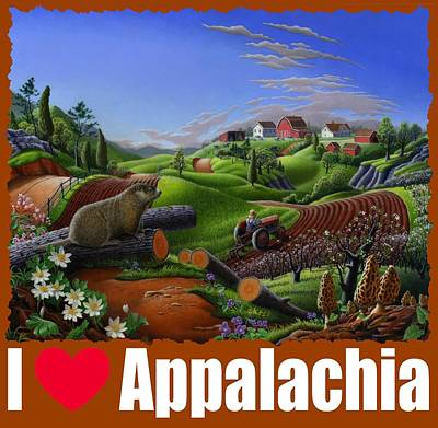 Groundhog Painting - I Love Appalachia T Shirt - Spring Groundhog - Country Farm Landscape by Walt Curlee