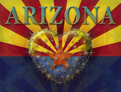 Digital Art - I Love Arizona Flag by James Larkin
