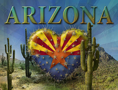Digital Art - I Love Arizona Landscape by James Larkin
