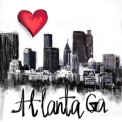Digital Art - I Love Atlanta Ga by Sladjana Lazarevic