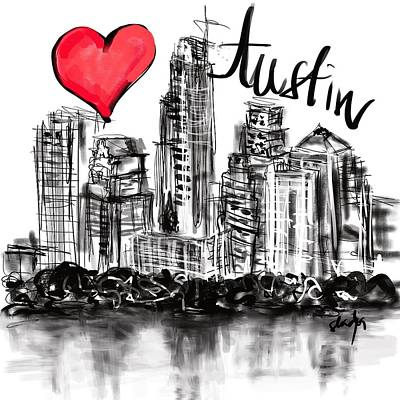 Digital Art - I Love Austin by Sladjana Lazarevic