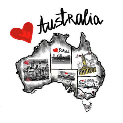 Digital Art - I Love Australia  by Sladjana Lazarevic