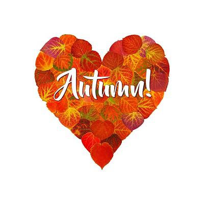Digital Art - I Love Autumn Bold Red Aspen Leaf Heart 1 by Agustin Goba