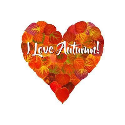 Digital Art - I Love Autumn Red Aspen Leaf Heart 1 by Agustin Goba