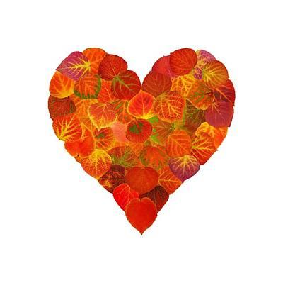 Digital Art - I Love Autumn Subtle Red Aspen Leaf Heart 1 by Agustin Goba