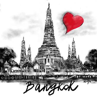 Digital Art - I Love Bangkok by Sladjana Lazarevic