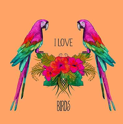 Digital Art - I Love Birds by Ericamaxine Price