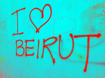 Royalty-Free and Rights-Managed Images - I Love Blue Beirut by Funkpix Photo Hunter