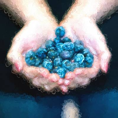 Blueberry Mixed Media - I Love Blueberries by Gary Guthrie