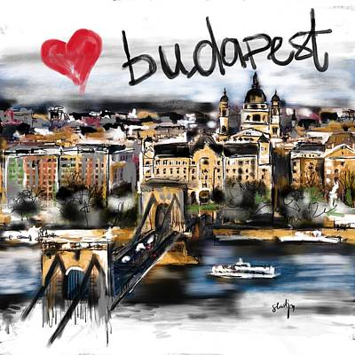 Digital Art - I Love Budapest by Sladjana Lazarevic
