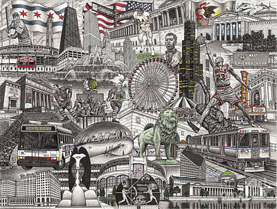 Drawing - I Love Chicago Volume 2 by Omoro Rahim