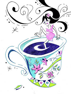 Drawing - I Love Coffee - Art Book Illustration by Arte Venezia