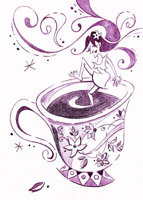 I Love Coffee Illustration - Arte Caffe Art Print